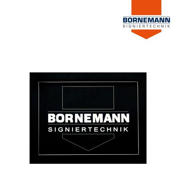 Selbstklebendes Folienschild in Schwarz von Bornemann Signiertechnik