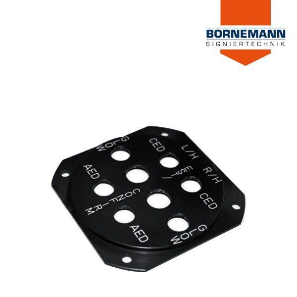 Schwarze Aluminium Frontblende / Frontplatte mit Ausstanzungen und runder Ausprägung