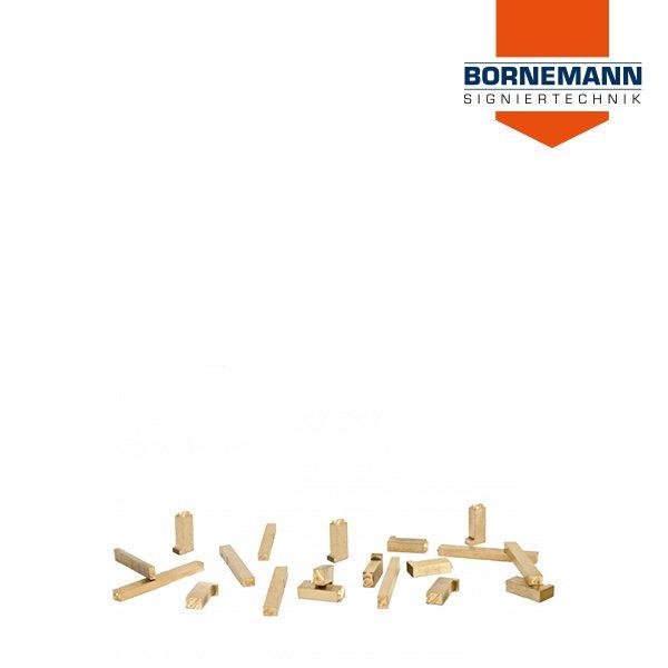 Ansammlung von Messingtypen zum Prägen von Holz Papier und Kunststoffen